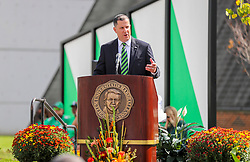 """Oct 9, 2021; Huntington, West Virginia, USA; Marshall Thundering Herd interim athletic director Jeff O'Malley speaks during a ceremony honoring the life of Harold Everett """"Hal"""" Greer and to reveal a statue of him outside the Cam Henderson Center. Mandatory Credit: Ben Queen-USA TODAY Sports"""