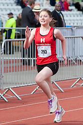Sheffield Half Marathon Fun Run Sunday Morning.First Gilr Home in the Fun Run..12 May 2013.Image © Paul David Drabble