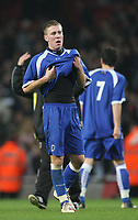 Photo: Marc Atkins.<br /> Arsenal v Cardiff City. FA Youth Cup. 19/02/2007. Matt Smith  of Cardiff looks away in despair after seeing his side knocked out of the youth FA Cup.