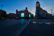 Callao Square during the confinement due to the national emergency caused by Covid-19 on April 12, 2020 in Madrid, Spain  <br /> The day before workers on Spain they return theirs non-essential works