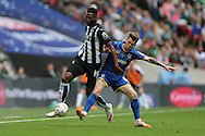 Plymouth Argyle's Jamille Matt and AFC Wimbledon midfielder Jake Reeves (8) during the Sky Bet League 2 play off final match between AFC Wimbledon and Plymouth Argyle at Wembley Stadium, London, England on 30 May 2016.