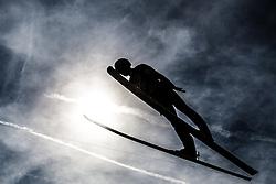 05.10.2012, Paul Ausserleitner Schanze, Bischofshofen, AUT, OeSV, Staatsmeisterschaften Skisprung, im Bild Feature Skisprung, Skispringen, ein springer im Gegenlicht, Silhouette. EXPA Pictures © 2012, PhotoCredit: EXPA/ Juergen Feichter