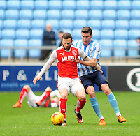 Fleetwood Town's Jimmy Ryan vies for possession with Coventry City's Chris Stokes<br /> <br /> Photographer Andrew Vaughan/CameraSport<br /> <br /> Football - The Football League Sky Bet League One - Coventry City v Fleetwood Town - Saturday 27th February 2016 - Ricoh Stadium - Coventry   <br /> <br /> © CameraSport - 43 Linden Ave. Countesthorpe. Leicester. England. LE8 5PG - Tel: +44 (0) 116 277 4147 - admin@camerasport.com - www.camerasport.com