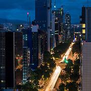 Reforma Avenue at night. Mexico city.