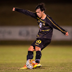 BRISBANE, AUSTRALIA - AUGUST 26: Donggyu Lee of Moreton Bay kicks the ball during the NPL Queensland Senior Men's Semi Final match between Brisbane Strikers and Moreton Bay Jets at Perry Park on August 26, 2017 in Brisbane, Australia. (Photo by Patrick Kearney)