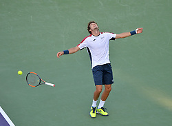 March 29, 2018 - Key Biscayne, FL, U.S. - KEY BISCAYNE, FL - MARCH 29: Pablo Carreno Busta (ESP) celebrates his win during day 11 of the 2018 Miami Open held at the Crandon Park Tennis Center on March 29, 2018 in Key Biscayne, Florida.  (Photo by Andrew Patron/Icon Sportswire) (Credit Image: © Andrew Patron/Icon SMI via ZUMA Press)