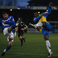 Photo: Steve Bond/Sportsbeat Images.<br /> Macclesfield Town v Hereford United. Coca Cola League 2. 26/12/2007. Trevor Benjamin (R) volleys for goal