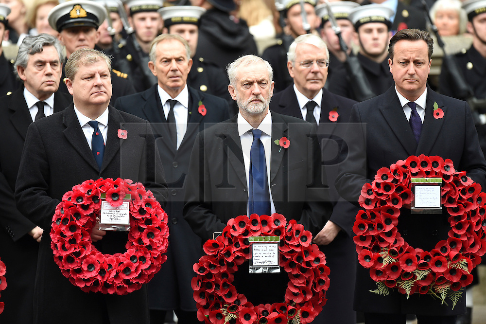 **FILE PICTURE - Monday December 21 marks 100 days since Jeremy Corbyn became leader of the Labour Party**© Licensed to London News Pictures. 08/11/2015. London, UK. JEREMY CORBYN and DAVID CAMEON holding wreaths as they attend the Remembrance Sunday Service at the Cenotaph in Westminster, Central London.. Photo credit: Ben Cawthra/LNP