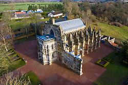 Aerial view of Rosslyn Chapel in Roslin village Midlothian, Scotland, UK