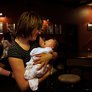 Jane with baby Luca as Jen and Jane enjoy an early evening out in Sydney, Australia on 23rd February  2009. Photo by Tim Clayton.