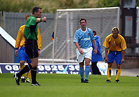 Photograph: Scott Heavey.<br />Mansfield Town V Manchester City. Pre-Season friendly at Field Mill.<br />19/07/2003.<br />RefereeMr.K Friend points to the spot after Robbie Fowler went down in the box.
