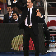 Anadolu Efes's coach Ufuk Sarica during their Euroleague Top 16 basketball match Galatasaray MP between Anadolu Efes at the Abdi Ipekci Arena in Istanbul at Turkey on Wednesday, February, 22, 2012. Photo by TURKPIX