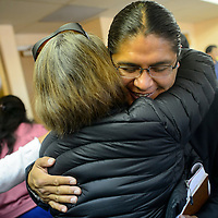 101314  Adron Gardner/Independent<br /> <br /> Navajo Nation presidential candidate Chris Deschene greets a supporter after the Navajo Nation Board of election Supervisors unanimously supported a resolution to continue the election with Deschene on the ballot in Window Rock Monday.