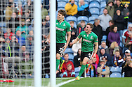 Sean Raggett of Lincoln City (l) celebrates after scoring his teams 1st goal. The Emirates FA cup 5th round match, Burnley v Lincoln City at Turf Moor in Burnley, Lancs on Saturday 18th February 2017.<br /> pic by Chris Stading, Andrew Orchard Sports Photography.