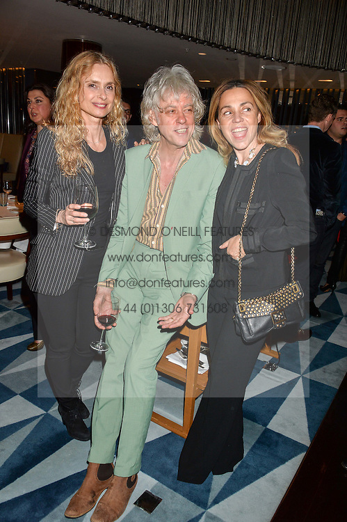Left to right, MARYAM D'ABO, SIR BOB GELDOF and JEANNE GELDOF at a dinner to celebrate the start of The Season held at Rivea, Bulgari Hotel, 171 Kightsbridge, London on 18th May 2016.