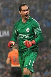 24th October 2017 - Carabao Cup (4th Round) - Manchester City v Wolverhampton Wanderers - Man City goalkeeper Claudio Bravo celebrates a save during the shootout - Photo: Simon Stacpoole / Offside.