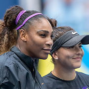 2019 US Open Tennis Tournament- Day Thirteen.    Serena Williams of the United States and Bianca Andreescu of Canada pose for a photograph at the net before the Women's Singles Final on Arthur Ashe Stadium during the 2019 US Open Tennis Tournament at the USTA Billie Jean King National Tennis Center on September 7th, 2019 in Flushing, Queens, New York City.  (Photo by Tim Clayton/Corbis via Getty Images)