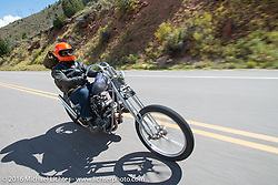 Bill Buckingham riding his 1923 Harley-Davidson J model custom chopper (that won top honors at Born Free 6) during Stage 10 (278 miles) of the Motorcycle Cannonball Cross-Country Endurance Run, which on this day ran from Golden to Grand Junction, CO., USA. Monday, September 15, 2014.  Photography ©2014 Michael Lichter.