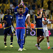 Fenerbahce's (L-R) Sow, Volkan Demirel, Caner Erkin during their UEFA Champions league third qualifying round first leg soccer match Fenerbahce between Shakhtar Donetsk at the Sukru Saracaoglu stadium in Istanbul Turkey on Tuesday 28 July 2015. Photo by Aykut AKICI/TURKPIX