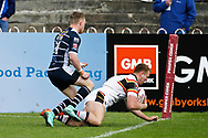 Bradford's Ross Oakes goes over in the corner to score a try during the Kingstone Press Championship match between Featherstone Rovers and Bradford Bulls at the Big Fellas Stadium, Featherstone, United Kingdom on 17 April 2017. Photo by Craig Galloway.