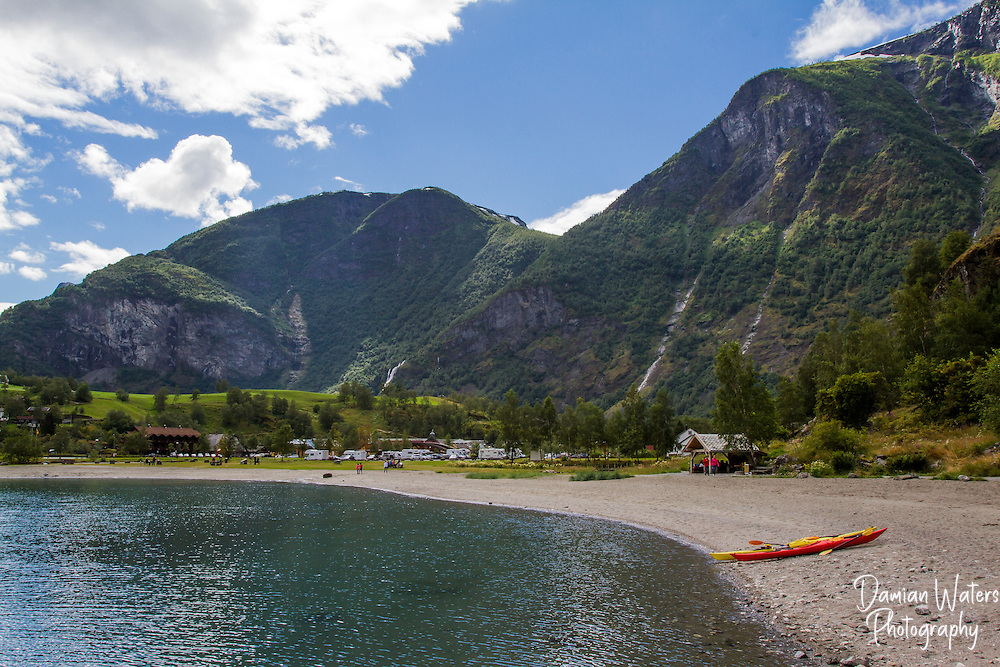 Kyaks on the beack at Flam, Norway - August