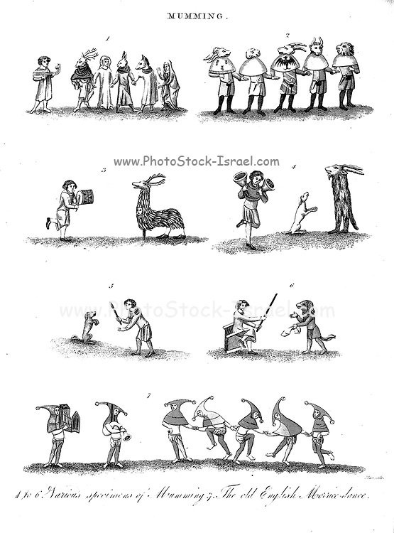 Mumming or Mummers' plays are folk plays performed by troupes of amateur actors, traditionally all male, known as mummers or guisers (also by local names such as rhymers, pace-eggers, soulers, tipteerers, wrenboys, and galoshins). Copperplate engraving From the Encyclopaedia Londinensis or, Universal dictionary of arts, sciences, and literature; Volume XVI;  Edited by Wilkes, John. Published in London in 1819