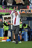 Newport County's Manager Justin Edinburgh acknowledges the traveling fans at the end of the game. Skybet Football League two match, Bury v Newport county at Gigg Lane in Bury on Saturday 5th Oct 2013. pic by David Richards, Andrew Orchard sports photography,