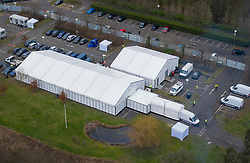 © Licensed to London News Pictures. 11/01/2021. London, UK. A tented temporary mortuary facility has re-opened in the grounds of Breakspear Crematorium near Ruislip, north west of London. Hospital mortuaries are at full capacity as the death rate from the covid-19 pandemic increases.Photo credit: Peter Macdiarmid/LNP