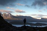 Late evening light seen from the ridge about Kvalvika Beach in the Lofoten Islands