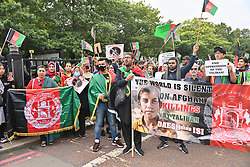 © Licensed to London News Pictures. 28/08/2021. London, UK. Protesters take part in the Global Movement For Peace In Afghanistan demonstration calling for an end to Afghan people suffering. Photo credit: London News Pictures