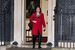 © Licensed to London News Pictures. 08/01/2018. London, UK. Clare Perry leaves 10 Downing Street after being appointed Minister of State at Department for Business, Energy and Industrial Strategy as Prime Minister Theresa May reshuffles the Cabinet. Photo credit: Rob Pinney/LNP