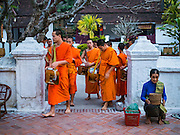 "11 MARCH 2016 - LUANG PRABANG, LAOS: Monks leave their temple in Luang Prabang for the tak bat while a Lao woman waits for monks to pass her. Luang Prabang was named a UNESCO World Heritage Site in 1995. The move saved the city's colonial architecture but the explosion of mass tourism has taken a toll on the city's soul. According to one recent study, a small plot of land that sold for $8,000 three years ago now goes for $120,000. Many longtime residents are selling their homes and moving to small developments around the city. The old homes are then converted to guesthouses, restaurants and spas. The city is famous for the morning ""tak bat,"" or monks' morning alms rounds. Every morning hundreds of Buddhist monks come out before dawn and walk in a silent procession through the city accepting alms from residents. Now, most of the people presenting alms to the monks are tourists, since so many Lao people have moved outside of the city center. About 50,000 people are thought to live in the Luang Prabang area, the city received more than 530,000 tourists in 2014.       PHOTO BY JACK KURTZ"