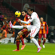 Galatasaray's Selcuk Inan (L) during their Turkish Super League soccer match Galatasaray between Balikesirspor at the AliSamiYen Spor Kompleksi TT Arena at Seyrantepe in Istanbul Turkey on Monday, 16 February 2015. Photo by Aykut AKICI/TURKPIX