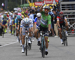 July 20, 2018 - Valence, France - VALENCE, FRANCE - JULY 20 : SAGAN Peter (SVK) of Bora - Hansgrohe wins the stage, KRISTOFF Alexander (NOR) of UAE Team Emirates, DEMARE Arnaud (FRA) of FDJ  during stage 13 of the 105th edition of the 2018 Tour de France cycling race, a stage of 169.5 kms between Bourg d'Oisans and Valence on July 20, 2018 in Valence, France, 20/07/2018 (Credit Image: © Panoramic via ZUMA Press)
