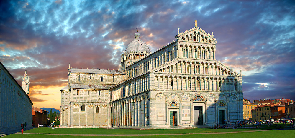 The Duomo of Pisa, Italy . Pisa Cathedral is a medieval Roman Catholic cathedral dedicated to the Assumption of the Virgin Mary, in the Piazza dei Miracoli in Pisa, Italy. It is a notable example of Romanesque architecture, in particular the style known as Pisan Romanesque.It is the seat of the Archbishop of Pisa. Construction on the Pisa cathedral began in 1063, in the early 12th century the cathedral was enlarged under the direction of architect Rainaldo.