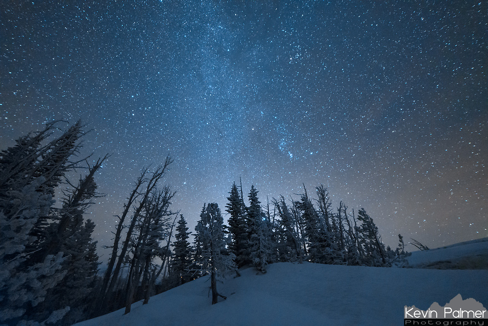 Orion shines above snow and rime covered pine trees near the summit of Granite Butte.