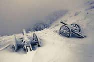 Old cannon guns in the snow