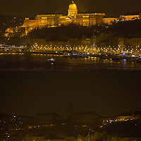 Combination photo of the Royal Castle during the Earth Hour before (above) and after (below) the lights went off in Budapest, Hungary on March 23, 2013. ATTILA VOLGYI