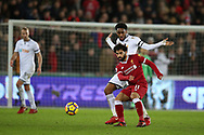 Mohamed Salah of Liverpool shields the ball from Leroy Fer of Swansea city. Premier league match, Swansea city v Liverpool at the Liberty Stadium in Swansea, South Wales on Monday 22nd January 2018. <br /> pic by  Andrew Orchard, Andrew Orchard sports photography.