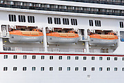 Lifeboat on Carnival Destiny Cruise Ship docked in Roseau, Dominica <br />