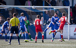 Brora Rangers Colin MacLean (19) scoring their goal. <br /> Montrose 3 v 1 Brora Rangers, Scottish League Two play-off second leg, today at Links Park, Montrose.