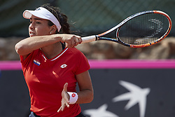 April 21, 2018 - La Manga, Murcia, Spain - Montserrat Gonzalez of Paraguay in action in his match against  Garbine Muguruza of Spain during day one of the Fedcup World Group II Play-offs match between Spain and Paraguay at Centro de Tenis La Manga Club on April 21, 2018 in La Manga, Spain  (Credit Image: © David Aliaga/NurPhoto via ZUMA Press)
