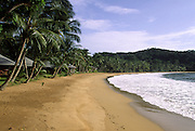 Beach in front of  bungalows area in Bom Bom Resort. The resort is one of the most exclusives in Africa, and is world famous for its Big Game Fishing.