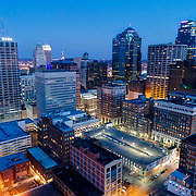 Downtown Kansas City Missouri skyline at dusk