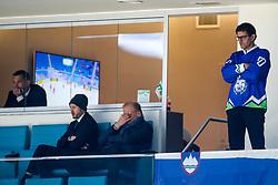 Dejan Kontrec, director of HZS, Janez Skrabec (RIKO) and Matjaz Rakovec, president of HZS, during ice hockey match between Belarus and Slovenia at IIHF World Championship DIV. I Group A Kazakhstan 2019, on May 2, 2019 in Barys Arena, Nur-Sultan, Kazakhstan. Photo by Matic Klansek Velej / Sportida