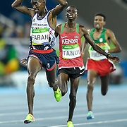 Mohamed Farah of Great Britain reacted at defending his Olympic title in the men's 10,000m final on Saturday at the Olympic Stadium during the 2016 Summer Olympics Games in Rio de Janeiro, Brazil.