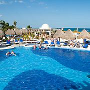 One of the several large pools at Excellence Playa Mujeres Resort at Playa Mujeres, north of Cancun, Quintana Roo, Mexico