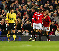 MANCHESTER, ENGLAND - MONDAY SEPTEMBER 20th 2004: Manchester United's Mikael Silverstre celebrates the opening goal against Liverpool during the Premiership match at Old Trafford. (Photo by David Rawcliffe/Propaganda)