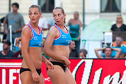 Martina Jakob Emersic and Jelena Strel Kosmac at Beach Volleyball Challenge Ljubljana 2014, on August 1, 2014 in Kongresni trg, Ljubljana, Slovenia. Photo by Matic Klansek Velej / Sportida.com