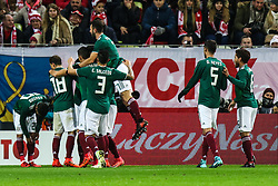November 13, 2017 - Gdansk, Poland - Raul Jimenez (MEX)  celebrates a goal during the International Friendly match between Poland and Mexico at Energa Stadium in Gdansk, Poland on November 13, 2017. (Credit Image: © Foto Olimpik/NurPhoto via ZUMA Press)